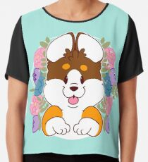 Reese the Black and Tan Corgi Chiffon Top