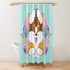 Reese the Black and Tan Corgi Shower Curtain