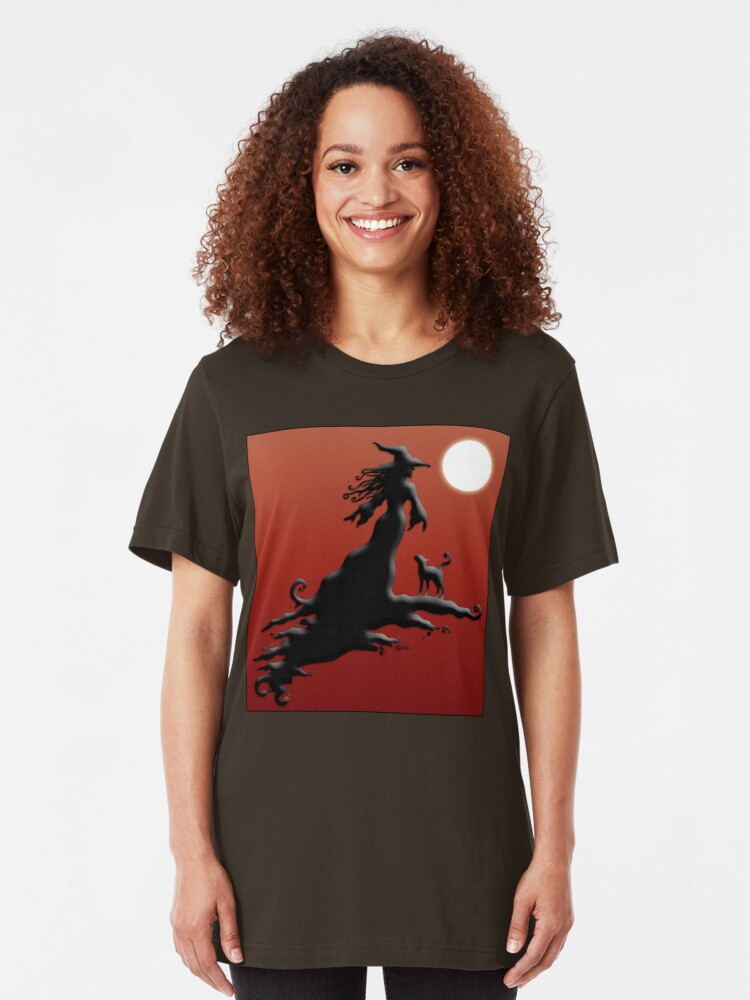 Alternate view of Witch's Silhouette - Clothing and Stickers Slim Fit T-Shirt