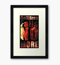 Gallifrey - No More (Black) - Simple Typography Collection Framed Print