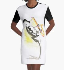 Jazz Saxophone Musician Graphic T-Shirt Dress