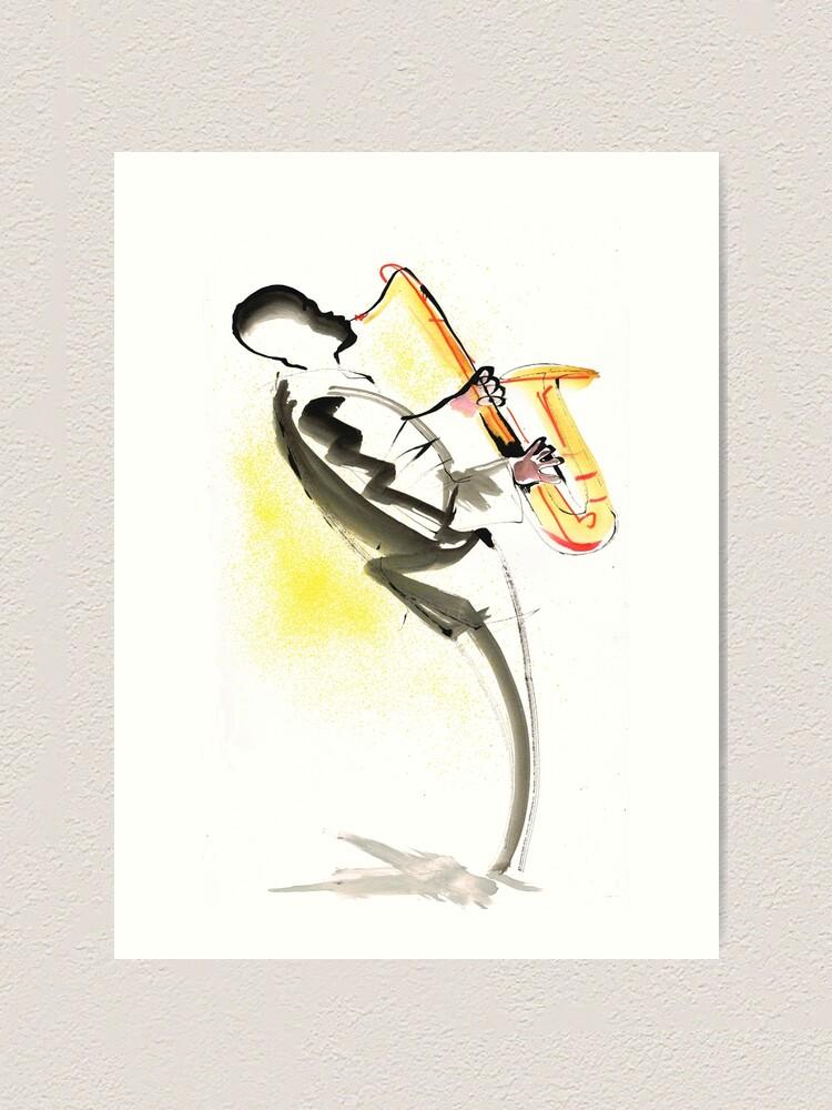 Alternate view of Jazz Saxophone Musician Art Print