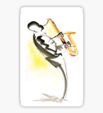 Jazz Saxophone Musician Glossy Sticker