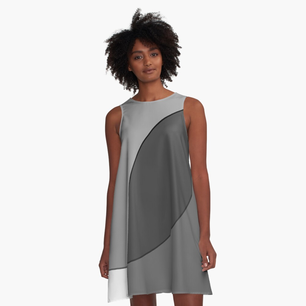 Circle Oval | Grey & Black A-Line Dress