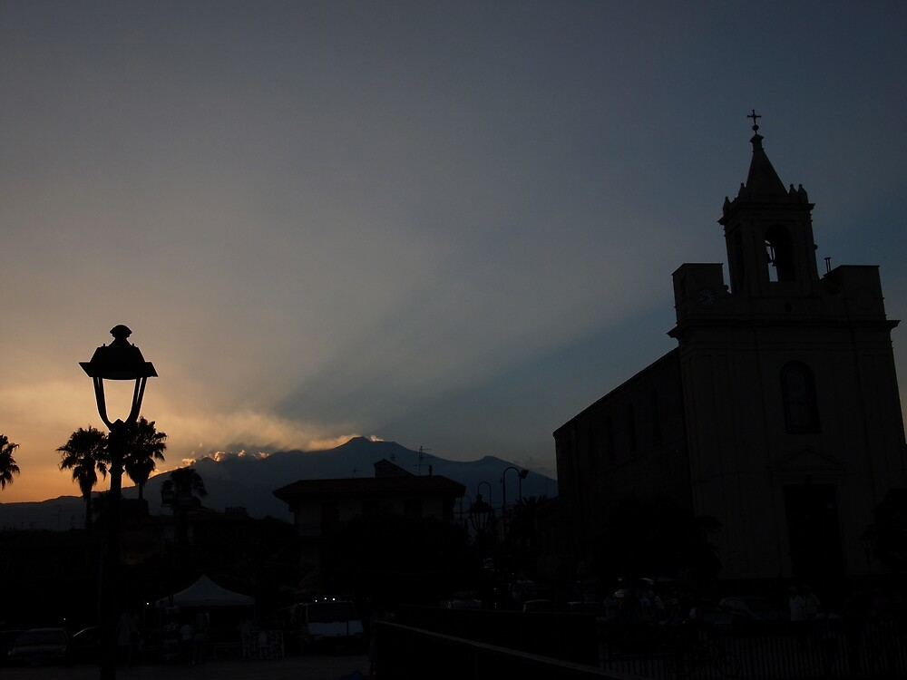 Stazzo Sunset with Mount Etna by Douglas E.  Welch