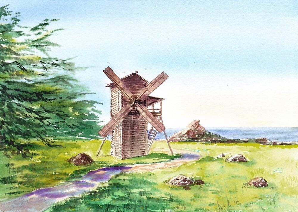 Landscape With Windmill Fort Ross California by Irina Sztukowski