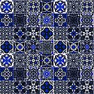 Oriental Traditional Blue Moroccan Tiles Style Artwork. by Arteresting