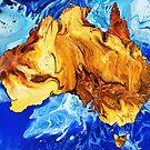 Sunburnt Country: Australia painting; fluid acrylic pour painting, digital art by kerravonsen