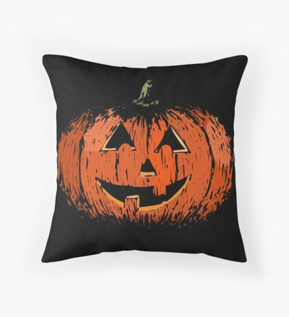 Vintage Happy Halloween Pumpkin Throw Pillow