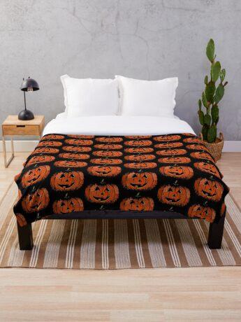 Vintage Happy Halloween Pumpkin Throw Blanket