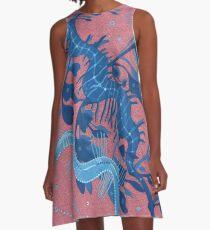 Leafy Seadragon Seahorse, Marine Fish, Gouache Painting, A-Line Dress