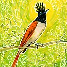 Indian Paradise Flycatcher Tropical Bird Chartreuse Green Yellow by clipsocallipso
