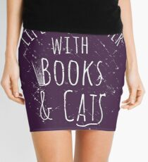 life is sweeter with books & cats #white Mini Skirt