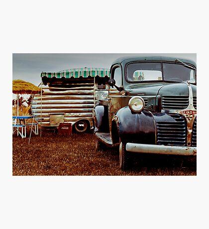 1940's Dodge pick-up and caravan Photographic Print