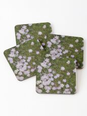 Green and Purple Watercolor Floral Pattern Coasters