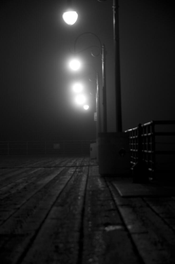 A foggy night on the pier by camfischer