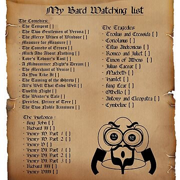 My Bard Watching List by Thowell3