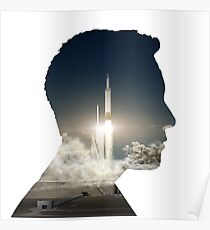 Elon Musk Launch Silhouette Poster