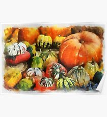 A variety of Pumpkins in watercolour Poster