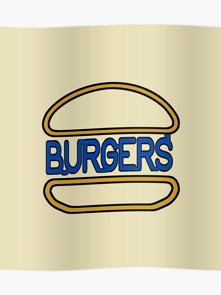 Sign Seeing Neon Burger Hamburger Sign Poster