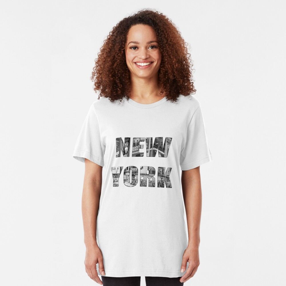New York (b&w photo filled flat type on white) Slim Fit T-Shirt