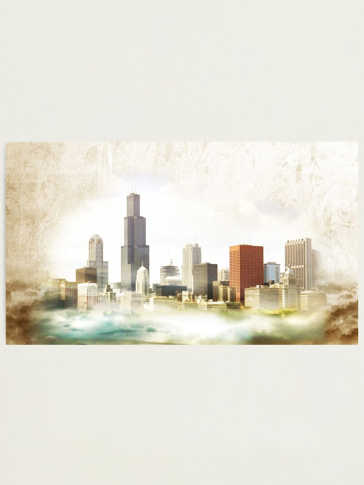 Alternate view of Chicago Watercolor Vintage Look Photographic Print
