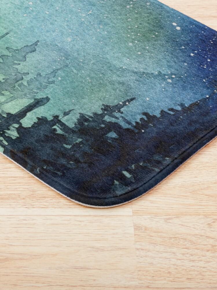 Alternate view of Watercolor Galaxy Nebula Aurora Northern Lights Painting Bath Mat