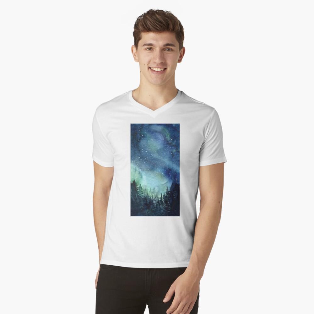 Watercolor Galaxy Nebula Aurora Northern Lights Painting V-Neck T-Shirt