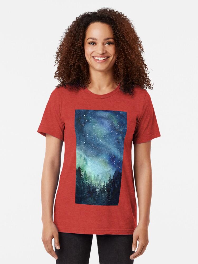 Alternate view of Watercolor Galaxy Nebula Aurora Northern Lights Painting Tri-blend T-Shirt