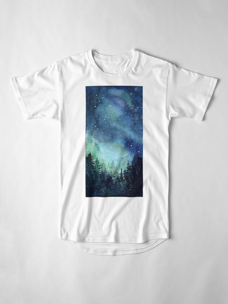 Alternate view of Watercolor Galaxy Nebula Aurora Northern Lights Painting Long T-Shirt