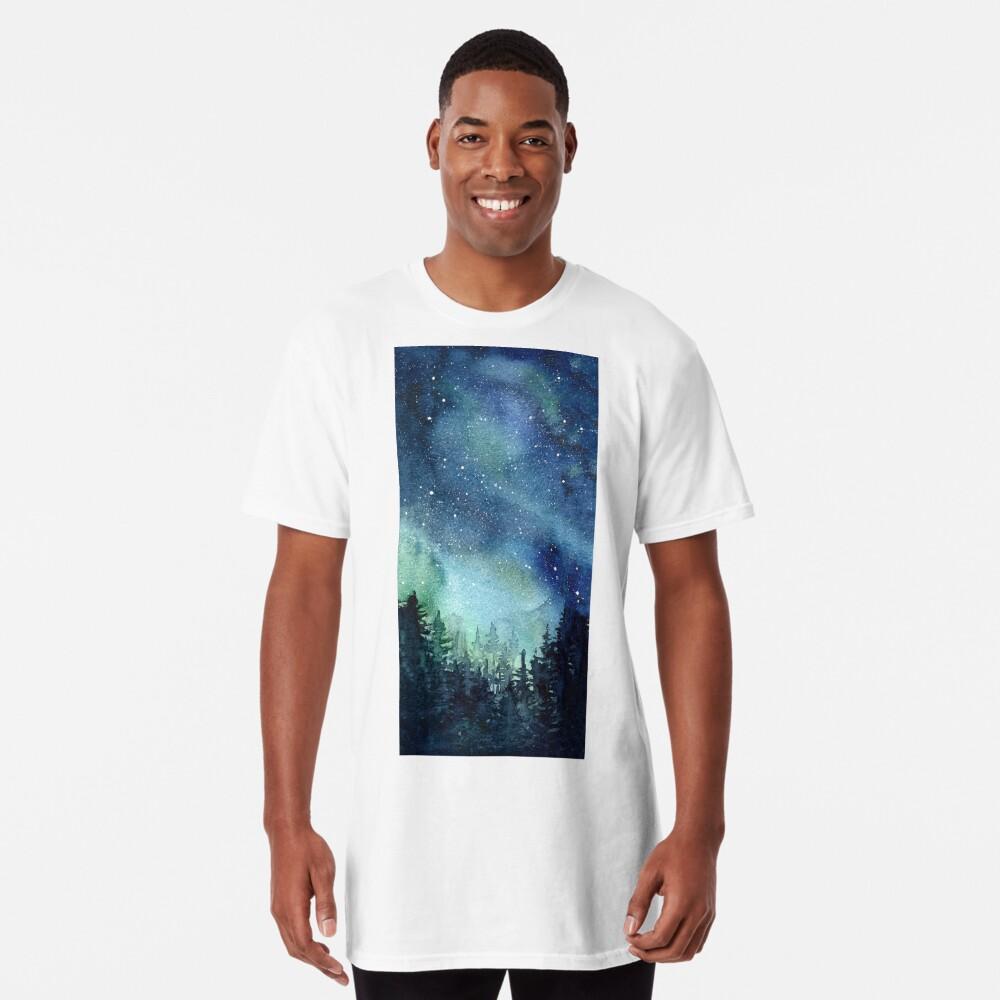 Watercolor Galaxy Nebula Aurora Northern Lights Painting Long T-Shirt