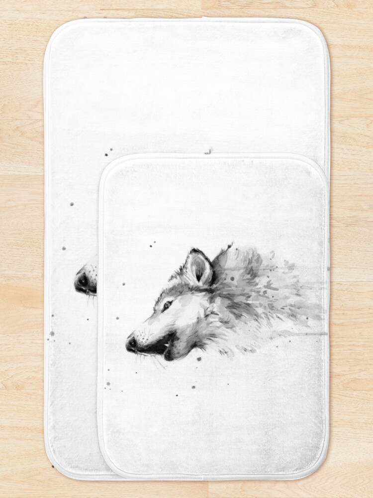 Alternate view of Wolf Howling Watercolor Bath Mat