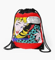 Roy Lichtenstein Comic Art - Girl with Gloves Drawstring Bag