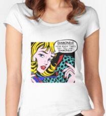 Roy Lichtenstein Comic Art - Girl with Gloves Women's Fitted Scoop T-Shirt