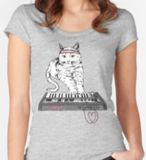 Camiseta entallada de cuello redondo Synth Cat - Moggie