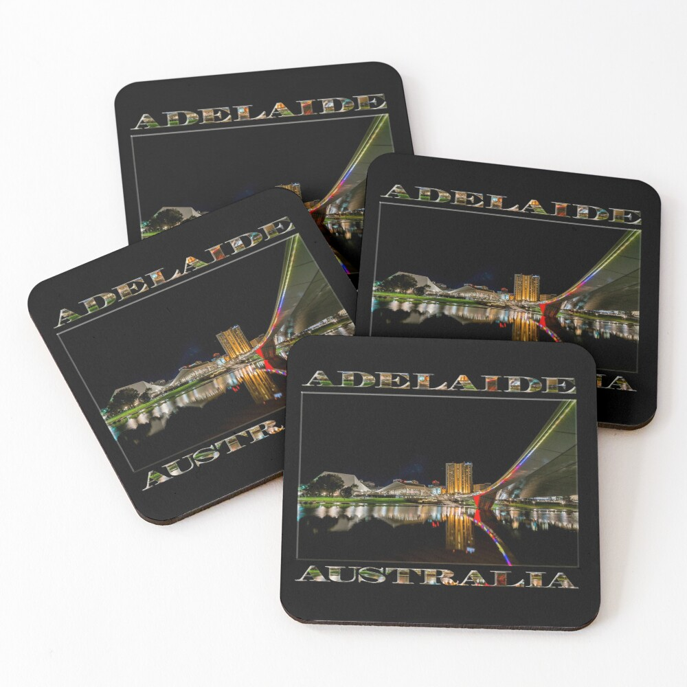 Adelaide Riverbank at Night (poster on black) Coasters (Set of 4)