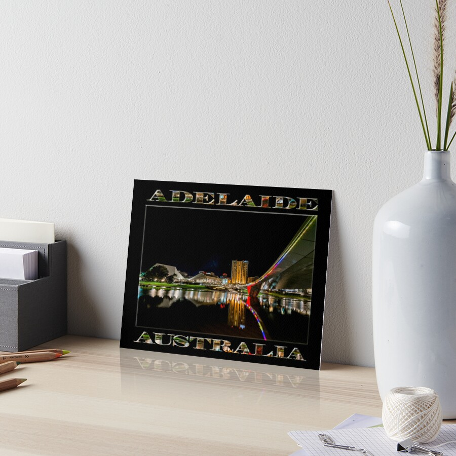 Adelaide Riverbank at Night (poster on black) Art Board Print