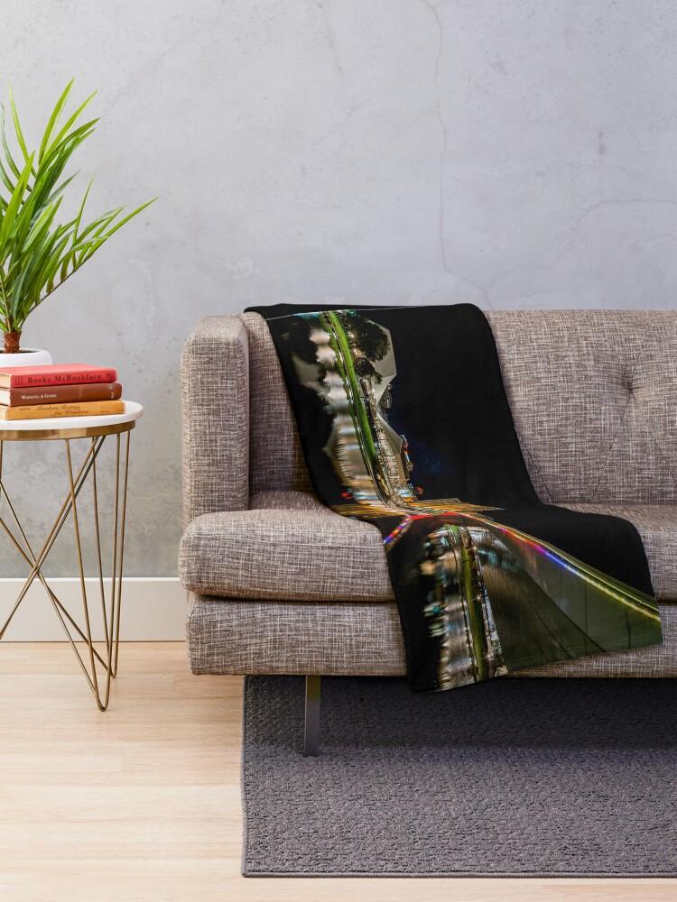 Alternate view of Adelaide Riverbank at Night (poster on black) Throw Blanket