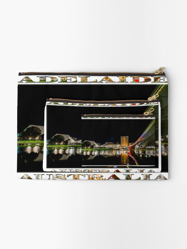 Alternate view of Adelaide Riverbank at Night (poster on white) Zipper Pouch