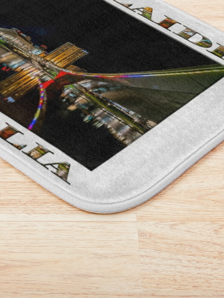 Alternate view of Adelaide Riverbank at Night (poster on white) Bath Mat