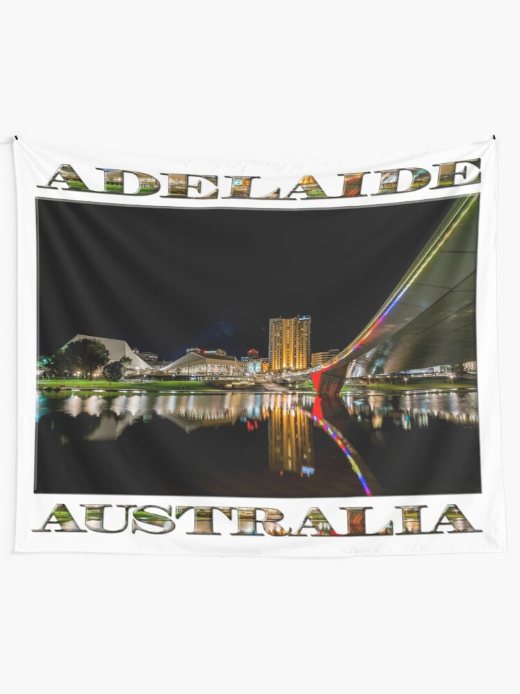 Alternate view of Adelaide Riverbank at Night (poster on white) Tapestry
