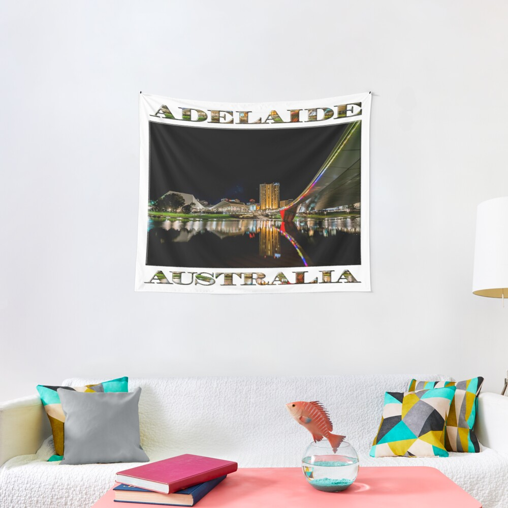 Adelaide Riverbank at Night (poster on white) Tapestry