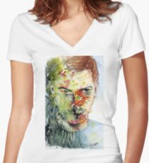 The Green Man Emerges Fitted V-Neck T-Shirt