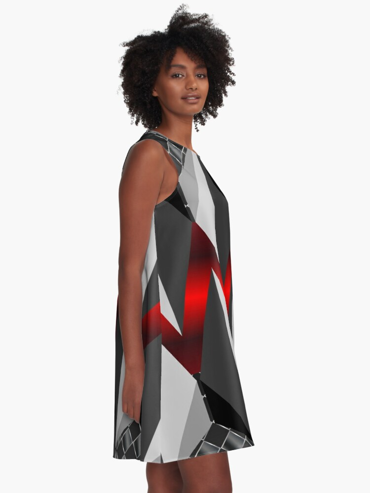 Alternate view of Metallight Overlord Red Seamless Pattern A-Line Dress