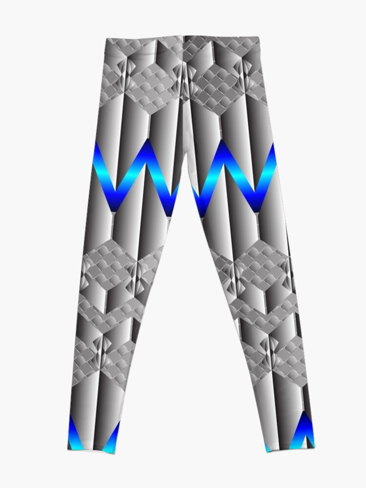 Alternate view of Metallight Overlord Blue Seamless Pattern Leggings