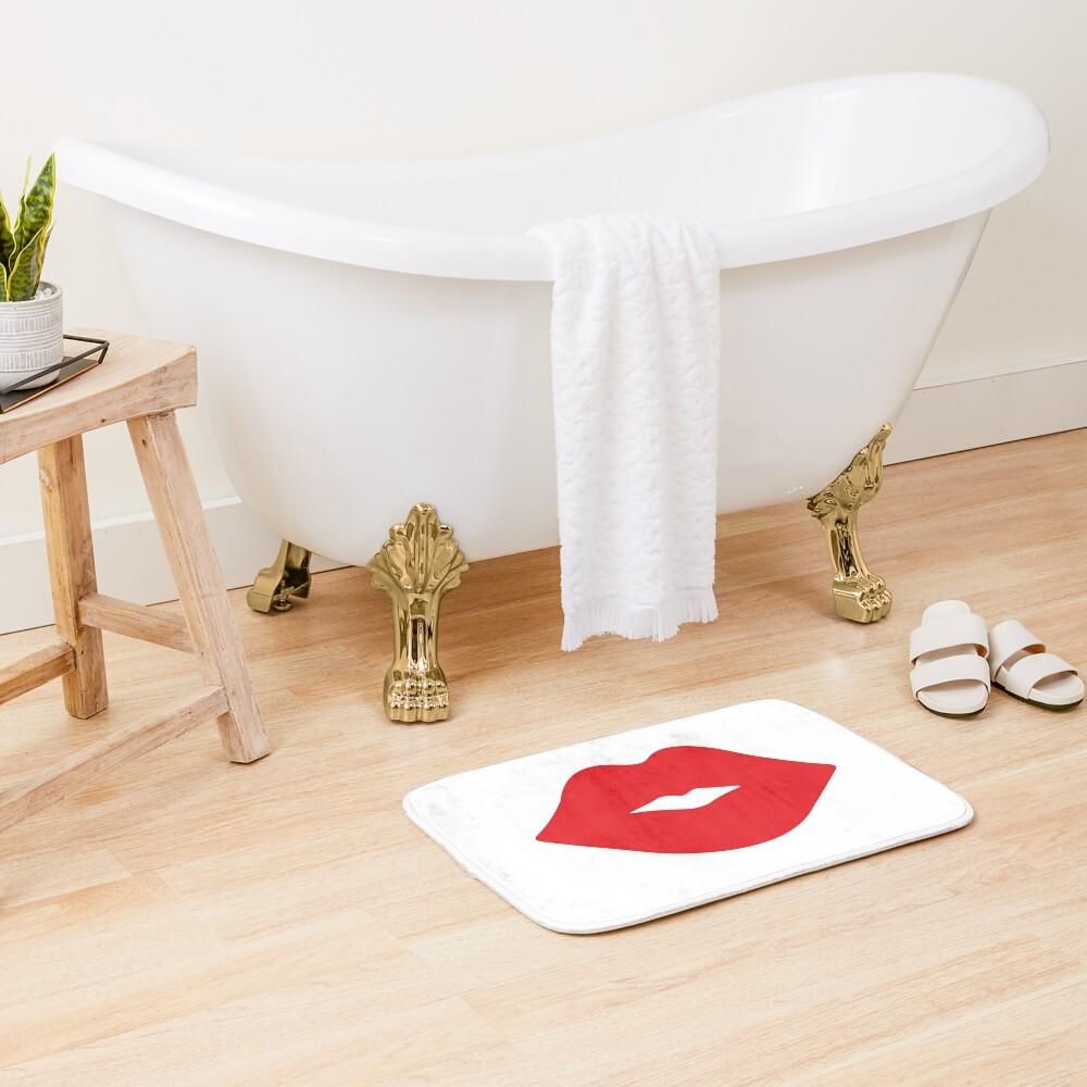 Red Lips Bath Mat