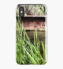 Tall Grass by the Rivers Edge with A Weathered Bridge iPhone Case/Skin