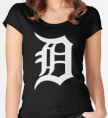Detroit Old English D (White) Women's Fitted Scoop T-Shirt