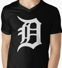 Detroit Old English D (White) Men's V-Neck T-Shirt