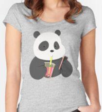 Panda Phone and Boba Tea Fitted Scoop T-Shirt